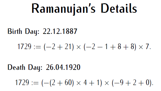 words containing letters hardy ramanujan number 1729 numbers magic 1729